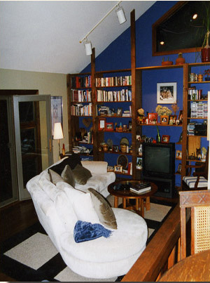 Deep blue accent library wall frames trapezoid window and houses the TV and stereo.