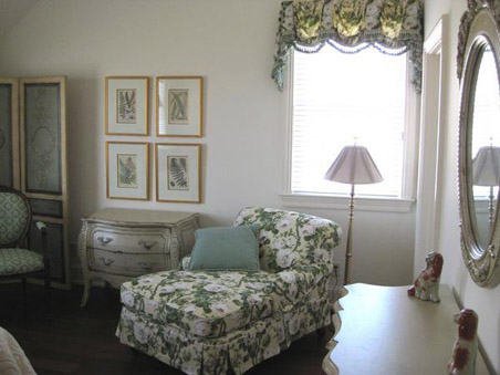 A charming reading area in the master bedroom.